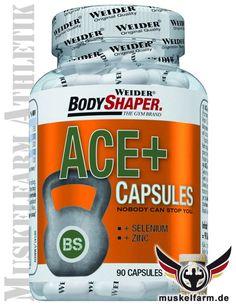 Weider ACE Kapseln enthalten das Provitamin A (Beta Carotin), Vitamin C und Vitamin E, sowie die Spurenelemente Zink und Selen, schnelle Versorgung.
