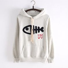 Cute Cat And Fish Bone Printed Women Hoodies  $28.90  10% off discount code sweetbox for new arrivals