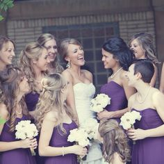With bridesmaids