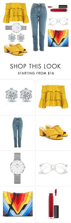 """Untitled #218"" by electronic-lions on Polyvore featuring Sans Souci, Topshop, Sam Edelman, Daniel Wellington, Elena Ghisellini and John Lewis"