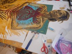 Studio process. Block print on stained mylar, with painted mylar cut outs being sewn in. Caledonia Curry / Swoon