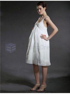 Empire Scoop Chiffon Satin Maternity Knee-length Wedding Dress with Beading