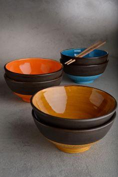 Noodle Bowl Set Ready To Ship Set of Six Noodle Soup Cereal Bowls by Symmetrical Pottery. $120.00, via Etsy.