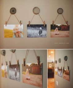 Hang mounted photographs with string & place them on fun hooks or buttons for a unique wall piece with a touch of vintage. Photography by http://www.amylucy.com