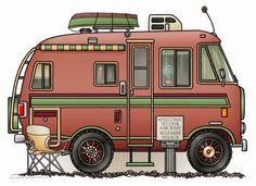 Travco Motor Home Camper RV Postcard by art1st Create a full color post card on Zazzle See this image on more (28+) products