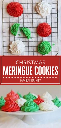 Get ready to fall in love with the unique and delicate texture of this Christmas in July dessert! Christmas Meringue Cookies is one of the easiest you will ever make. With only 15 calories each, you can indulge in these festive gluten-free treats without the guilt! Christmas In July, Christmas Treats, Christmas Cookies, I Am Baker, Holiday Recipes, Christmas Recipes, Meringue Cookies, Gluten Free Treats, Pinterest Recipes