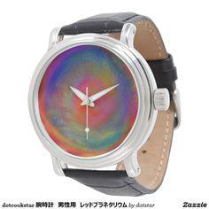 dotcookstar 腕時計 男性用 レッドプラネタリウム ビンテージ黒革
