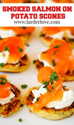 smoked salmon on potato scones makes a nice change from standard blinis and its so easy to make. Perfect party food. #smokedsalmon #potatoscones #partyfood #larderlove Scottish Recipes, Larder, Appetisers, Smoked Salmon, Pin Image, Cute Food, Perfect Party, The Dish, Scones