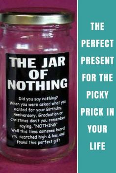 Jar of Nothing: The Perfect Present For The Picky Prick In Your Life | Best Gift Ideas For Him & Her | Birthday & Thanksgiving Gift Inspiration | What To Get Someone Who Has Everything
