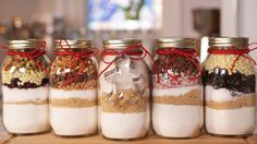 5 Cookie-In-A-Jar recipes!  These make the perfect Holiday gift!