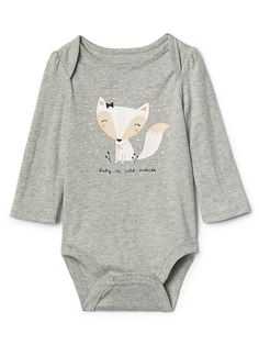 Gap Baby Graphic Long Sleeve Bodysuit Light Heather Gray