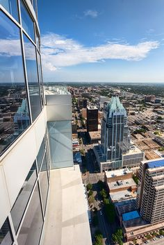 A view of Austin's downtown from the Austonian, one of Austin's best condo developments! Tallest building in Austin with a view for miles.  Pool, pet park, theatre, pub style billiards room, library, guest rooms and more.  You can almost see on to the field in DKR at UT!