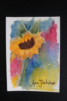 "Sunflower - 2.5 x 3.5"" watercolour"