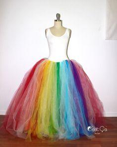 Rainbow Maxi Tulle Skirt