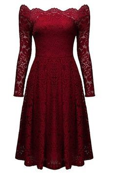 The Atomic Red Floral Lace Party Dress features a beautiful red floral lace pattern with a see-through lace long sleeves, an off-shoulder design, and a side zipper. This dress is perfect for weddings, evening parties, or for your first date!