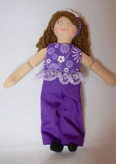 Girl Doll in Purple Doll Clothes - Toy For Kids - Handmade