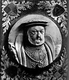 Wood engraving of Henry VIII in later life 	British Museum