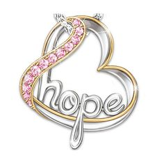 Breast Cancer Awareness Heart Of Hope Pendant Necklace With Swarovski... ($79) ❤ liked on Polyvore featuring jewelry, necklaces, cross necklace, heart necklace, pink pendant, pendants & necklaces and pink necklace