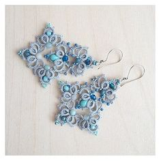 Your place to buy and sell all things handmade Tatting Earrings, Tatting Jewelry, Lace Earrings, Thread Jewellery, Lace Jewelry, Crochet Earrings, Handmade Jewelry, Anchor Earrings, Shuttle Tatting Patterns