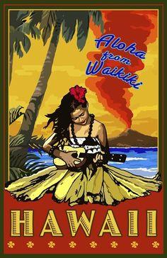 Aloha From Waikiki Art Poster