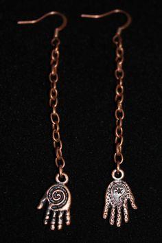 3D Two-sided Dangling Hand of Fatima Earrings - Copper