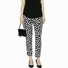 FLASH SALE ♡Kate Spade Dancing Hearts Ria Pant Gorgeous Kate Spade dancing hearts pants with adorable hearts printed all over. Pants are in new condition. Only worn once for a couple of hours. No flaws! Retails for over 298.00! kate spade Pants Ankle & Cropped