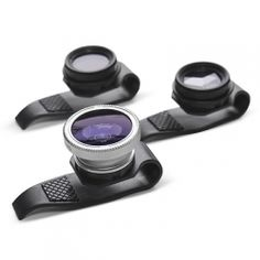Clip on fisheye, polarizing, or mirage lenses for the iPhone or iPad.