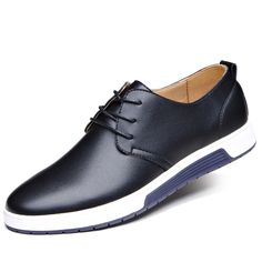New Men Leather Flat Outdoor Casual Lace Up Soft Round Toe Oxfords Sneaker Shoes…