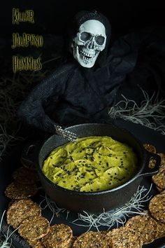 Killer vegan Jalapeño Hummus in a spooky bowl for all of your Halloween festivities!