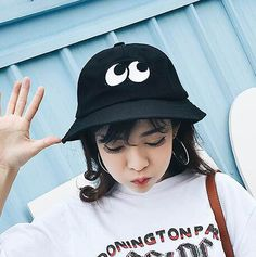 Embroidered eye bucket hat for women uv protection effect cotton hats e02be305521c