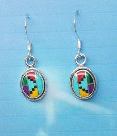 Zuni Silver Oval Inlayed Earrings with semi precious stones and liquid silver. .