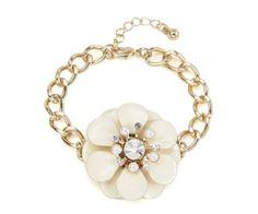 Cream Enamel Flower Bracelet