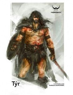 Týr, Norse god of war, law and heroic glory. Lost his hand while binding the Fenris wolf.