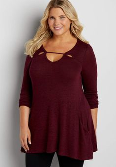 plus size tunic pullover sweater with pockets | maurices