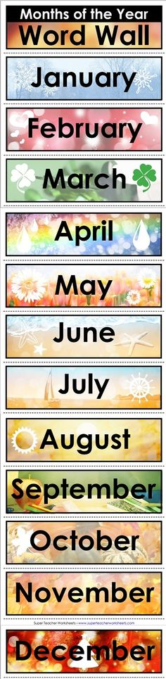 """Super Teacher Worksheets has word walls, like this """"Months of the Year"""" word wall!"""
