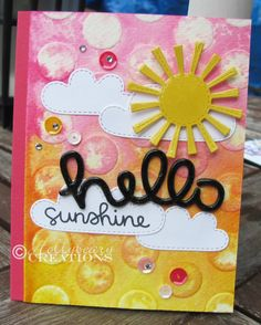 Hollybeary Creations / @lawnfawn Hello Sunshine stamp set, Scripty Hello Die  Spring Showers Die,  @prettypinkposh Sequins, @stampinup Large Polka Dot Embossing Folder, Melon Mambo, White  Daffodil Delight card stock, rhinestones  Crystal Efffects.