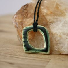 Handmade Necklace Green Ceramic Pendant Earthy by CherieGiampietro, $18.00