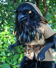 """archiemcphee: """" Today we're all wearing our Crow Masks to salute the awesomeness of this raven costume handmade by Seattle-based illustrator and video game artist Rah-Bop. """" rah-bop: Hey everybody,. Raven Costume, Bird Costume, Satyr Costume, Larp, Fantasy Costumes, Cosplay Costumes, Halloween Costumes, Cosplay Ideas, Creepy Costumes"""