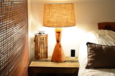 Wood Turned Mid Century Modern Table Lamp - Hourglass Natural