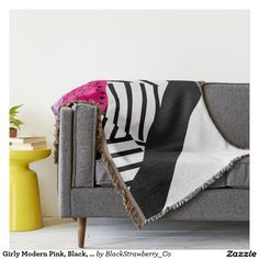 Girly Modern Pink, Black, & White Geometrical Throw Blanket