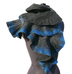 Ruffle wool felted scarf Black Cobalt Blue by JaneBoFelt.  Super pretty and dramatic, but I think it would need to be worn by a thinner person than I am.
