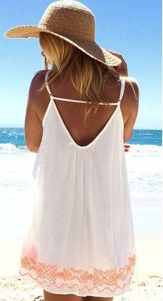 Sweet Pink and White Condole Belt Print Backless Chiffon Mini Dress - Mini Dresses #Pink #White #Beach #Dress #Summer #Fashion