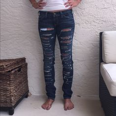 Current Elliot shredded skinny jeans These jeans are my fave (too bad they won't get past my knees anymore lol) Dark blue denim distressed/ripped super skinny jeans. Worn a handful of times, great condition. Retails for $130.00 Current/Elliott Jeans Skinny