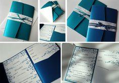 blau silber Hochzeitskarte Schleife schön Blumenmuster