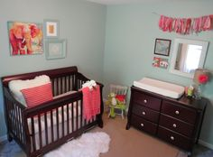 Check out this beautifully simple blue and coral nursery. I might have to revise my aqua/pink finding nemo theme.