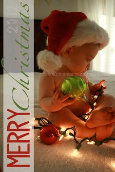 DIY Baby Christmas Photo Idea - TheNODramaMama Not gonna lie, I would love to have a Christmas baby...