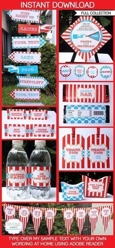 Red/Aqua Carnival Party Printables & Circus Party Printables - quick easy and inexpensive invitations & decorations for your Circus or Carnival Birthday Party. INSTANT DOWNLOAD $14.95 #Circus