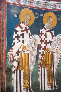 Nicholas (left) and St. Gregory the Theologian (right) Christ Pantocrator, Saint Gregory, Byzantine Icons, Religious Icons, Orthodox Icons, Fresco, Leeds, Christianity, Father