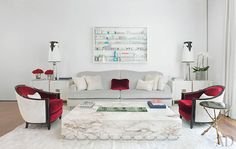 Donny Deutsch's Modern New York City Townhouse : Architectural Digest Architectural Digest, Manhattan, Zebra Chair, Fine Paints Of Europe, Blanket On Wall, Masonry Wall, Celebrity Houses, Celebrity Style, Home Decor Inspiration