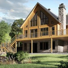 Timber Block's Classic Series features some of the most beautiful log and wood homes in Canada and the United States. This is a brand new version of the Classic Tacoma model. See the floor plan today. #timberblock #cottage #cottages #cabin #loghome #homedesign #floorplan Energy Efficient Homes, Classic Series, Classic House, Classic Collection, Engineered Wood, House In The Woods, Log Homes, Floor Plans, House Design